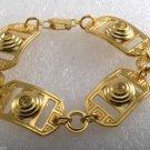 Vintage Bracelet Ladies 1950's Gold Plated Yellow Rhinestone Buckle Link