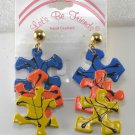 Vintage Real Puzzle Piece Clip-on Earrings
