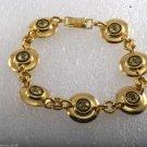 Vintage Bracelet Ladies 1950's Gold PLated Yellow Rhinestone Disc Metal