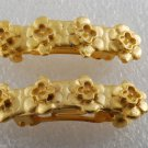 Vintage Hair Barrettes Pair Star Flower Gold Plated Metal Hair Accessories