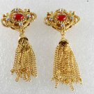 Vintage Gold Metal Red and CLear Rhinestone Shoe Clips Shoe Accessories