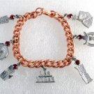 Vintage Copper Plated Chain Charm Bracelet Las Vegas Lucky Roulette Dice Red