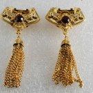 Vintage Gold PLated Metal Ruby  Rhinestone Tassel Shoe Clips Pair