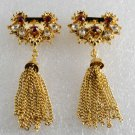 Vintage Gold PLated Metal Ruby Clear Rhinestone Tassel Shoe Clips Pair