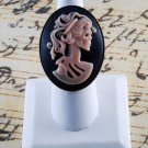 """LTV Creation """"Pink Lady Skeleton"""" Ring Industrial Raw Brass Resin Cast Cameo"""