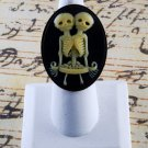 "LTV Creation ""Siamese Twin Skeleton"" Ring Industrial Raw Brass Resin Cast Cameo"