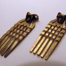 Vintage Hair Comb Hair Jewelry Making Brass Metal  Wavy Tine Clip Barrette Comb