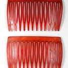 VINTAGE RED SEE THROUGH HAIR COMBS HAIR ACCESSORIES
