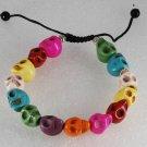 Rainbow Color Dyed Howlite Stone Skull Adjustable Bracelet Jewelry