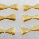 Vintage Lof Of 6 Metal Bow Connector Findings Gold Plated Brass