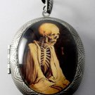 Victorian Style Silver Plated Perfume Locket Robed Skeleton Glass Cabochon