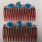 Vintage Brown Hair Comb Pair Silver Metal  Simulated Turquoise Accessorie