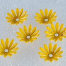 Vintage Daisy Yellow Painted Metal Flower Piece Findings Set of 6 Jewelry Making