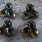 Beautiful Czech? Glass Sewing Buttons Green Yellow Orange Foil Set of 4 Crafting