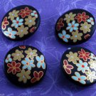 Set of 4 Plastic Sewing Buttons Black Colored Flowers CRafting Plastic Shank
