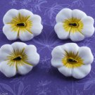 Tropical Flower Glass Sewing Button Set Of 4  White Yellow Black Center