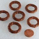 Vintage Brown Plastic Rope Look Round Grooved Doughnut Beads Set of 6