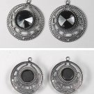VINTAGE PAIR SILVER TONE METAL PENDANT CHARMS