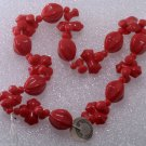 Vintage Czech Red Glass Pinch Bone Bead Strand
