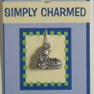 SIMPLY CHARMED SILVER CAT IN SHOE PENDANT JEWELRY