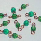 Vintage Lot of 12 Green Plastic Connector Beads Jewelry