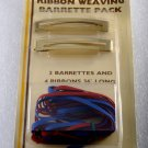 Vintage Tip Top Barrettes Ribbon Weaving Pack Red Blue Gold Tone Metal