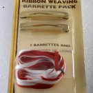 Vintage Tip Top Barrettes Ribbon Weaving Pack Red White Gold Tone Metal