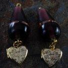 LTV VTG Heart Locket Dangle Pair Purple Glass Lampwork Bead Gold Tone Metal