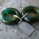 Vintage 60's Clip On Earrings Loop Made IN Italy Speckled Green Plastic Hinged
