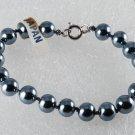 "Vintage  Glass Hematite Bead Bracelet Made in Japan 7"" Jewelry"