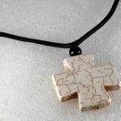 Howlite White Stone Cross Adjustable Black Cord  Necklace Jewelry