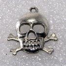 Vintage Silver Metal Skull Crossbone Pendant Jewelry