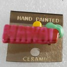 Vintage Hand Painted Ceramic Hawaii Pink Pin New on Card