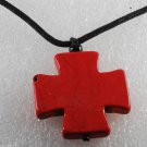 Dyed Howlite Red Stone Cross Adjustable Black Cord  Necklace Jewelry