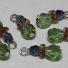 Vintage Green Glass Dangle Bead Finding Set of 6