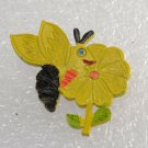 Vintage 70's Bumble Bee Flower Yellow Pin Brooch