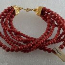 "Vintage Bracelet Red Plastic Bead 6 Strand Made in Haiti Jewelry 7 1/2"""