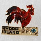 Vintage Lions Club ENamel Gold PLated Rooster Rhode Island Pin