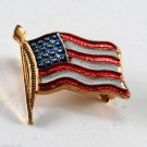Vintage Painted Brass Metal United States USA Flag Pin