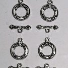Vintage Set of 4 Silver Metal Heart BarToggle Clasp