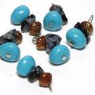 Vintage Blue+Marble+Metal Glass Dangle bead Finding 6