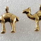 Vintage Pair Gold Tone Metal Camel Charm Pendants Jewelry Making