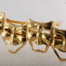 Vintage Hair Barrette Comedy Tragedy Theater Mask Gold Tone Metal Hair Accessori