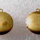 Vintage Round Locket Pair Raw Brass 20mm Pendant Jewelry Making