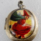 Victorian Style Raw Brass Metal Perfume Locket Witch On A Broom Glass Dome Cab