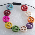 Rainbow Dyed Howlite Peace Symbol Bracelet Adjustable Jewelry