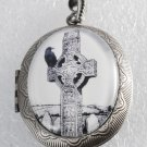 Victorian Style Silver Metal Locket Celtic Cross Crow Cemetery Glass Dome Cab