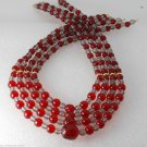 Vintage Red and Clear Acrylic Graduated 4 Strand Beads Necklace Jewelry Making