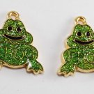 Vintage Gold Metal Green Glitter Frog Jewelry Pendant Finding Pair