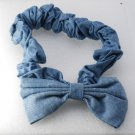 Vintage Denim Color Blue Head Band With Bow Hair Accessorie